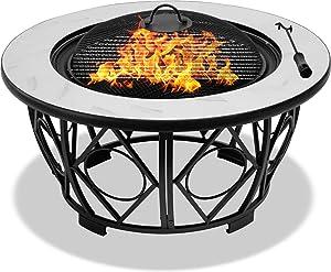 Centurion Supports Navaro Premium Multifonctions 360° Jardin et Patio Ronde Brasero, Brasero, Table Basse, Barbecue et Seau à Glace avec Blanc Carreaux de Céramique