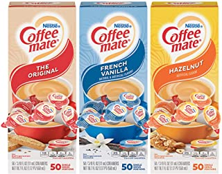 Nestle Coffee mate Creamer Singles Variety Pack, Original, French Vanilla, Hazelnut, Non Dairy, No Refrigeration, 150 Coun...