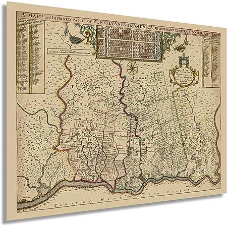HISTORIX Vintage 1687 Philadelphia Pennsylvania Map - 18x24 Inch Old Philadelphia PA Vintage Map Wall Art - Philadelphia Map Print Showing Counties Townships Lots - Philadelphia Map Poster (2 Sizes)