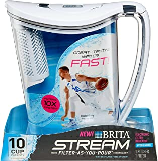 Brita 36220 10-Cup Stream Filter as You Pour Water, white