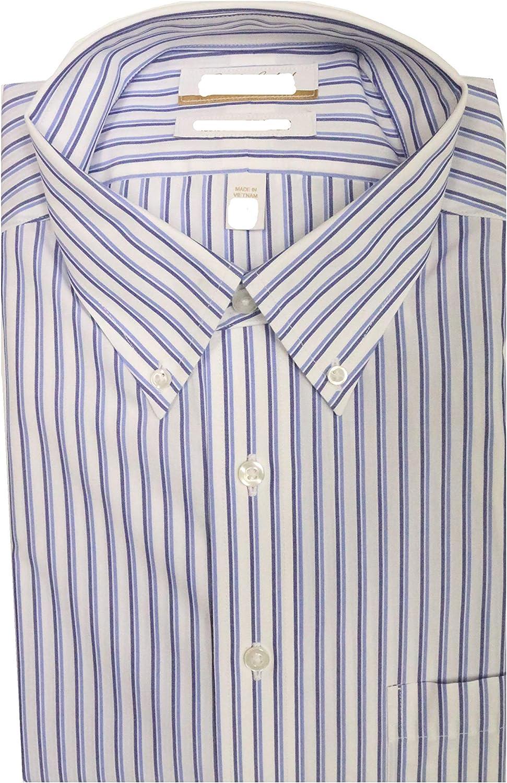 Gold Label Roundtree & Yorke Non-Iron Regular Bottom Down Stripe Dress Shirt G16A0002 Blue Multi