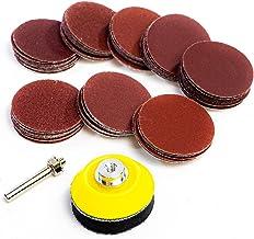 Juego de discos de lija con velcro, 75 mm, varios tipos de grano, 80 – 600, con accesorio para taladros