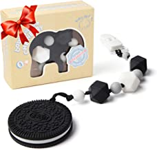Teething Toys BPA Free Silicone - Very Cute and Highly Effective Cookie Teether with Pacifier Clip for Stylish Baby Boy or Girl Teethers Toy for Freezer Best Unique Christmas Gifts Stocking Stuffers