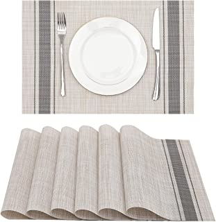 Lucas Forest Vinyl Placemats 12x18 Inches Heat Resistant Stain Resistant Kitchen Patio PVC Placemats Wipeable Dining Table...