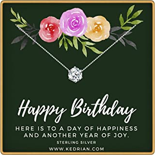 Happy Birthday Necklace, 925 Sterling Silver, Happy Birthday Mom Gifts, Fun Birthday Gifts for Women, Birthday Jewelry for Women, Sentimental Birthday Gift, Birthday Gifts for Girls