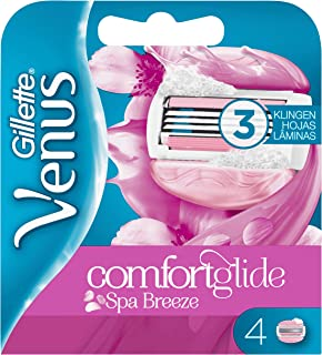 Venus ComfortGlide Spa Breeze Recambio de Maquinilla 2-en-1, 4Uds, con Barras de Gel, sin Necesidad de Gel de Depilación