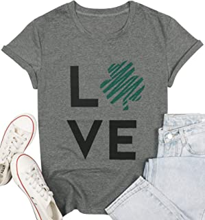 St. Patrick Day T-Shirt Women Irish Clover Short Sleeve Casual Tops Tees