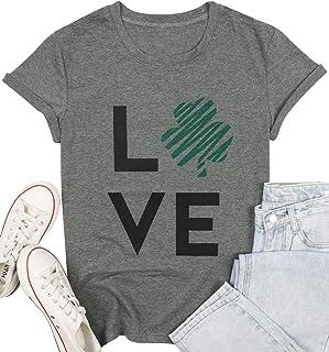 St. Patrick Day T-Shirt Women Irish Clover Short Sleeve Casual Tops Tees