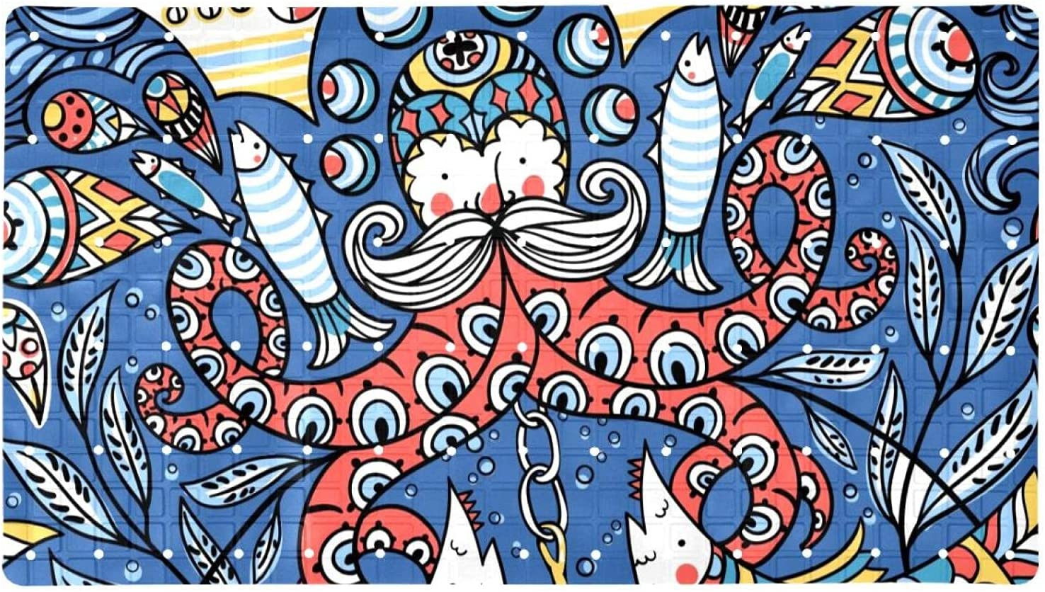 Bath Tub Shower Mat 15.7x27.9 Old Overseas parallel import regular item 5 ☆ popular Colored Octopuses inches Fishe
