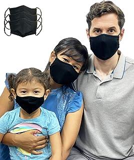 LOFBAZ tyg ansiktsskydd bomullstyg med filterficka tvättbar återanvändbar (svart - paket med 3, vuxen stor)