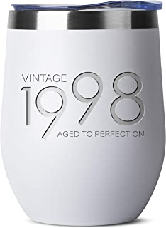 1998 21st Birthday Gifts for Women and Men White 12 oz Insulated Stainless Steel Tumbler | 21 Year Old Presents | Mom Dad Wife Husband Present | Party Decorations Supplies Anniversary Tumblers Gift th