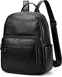Coolcy Hot Style Real Leather Backpack Casual Daypacks Bag (Black)