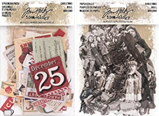 Idea-ology Tim Holtz 2017 Christmas Ephemera and Christmas Paper Dolls - 2 Item Bundle