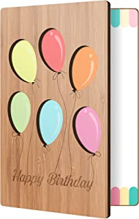 Bamboo Birthday Card With Balloon Design: Premium Handmade Wood Card Perfect Way To Say Happy Birthday; Wood Happy Birthday Cards For Men & Women
