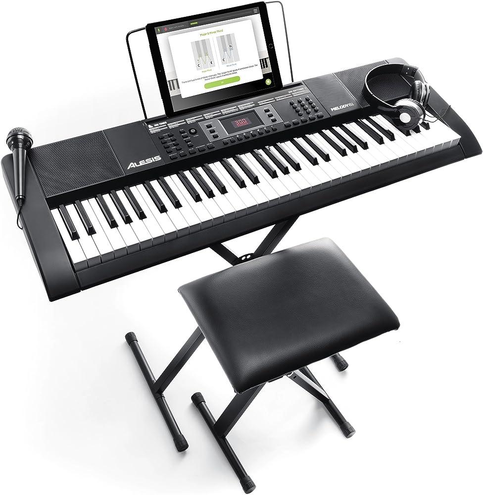 Alesis melody tastiera musicale 61 tasti con cuffie, microfono, casse integrate sgabello Melody61MKII