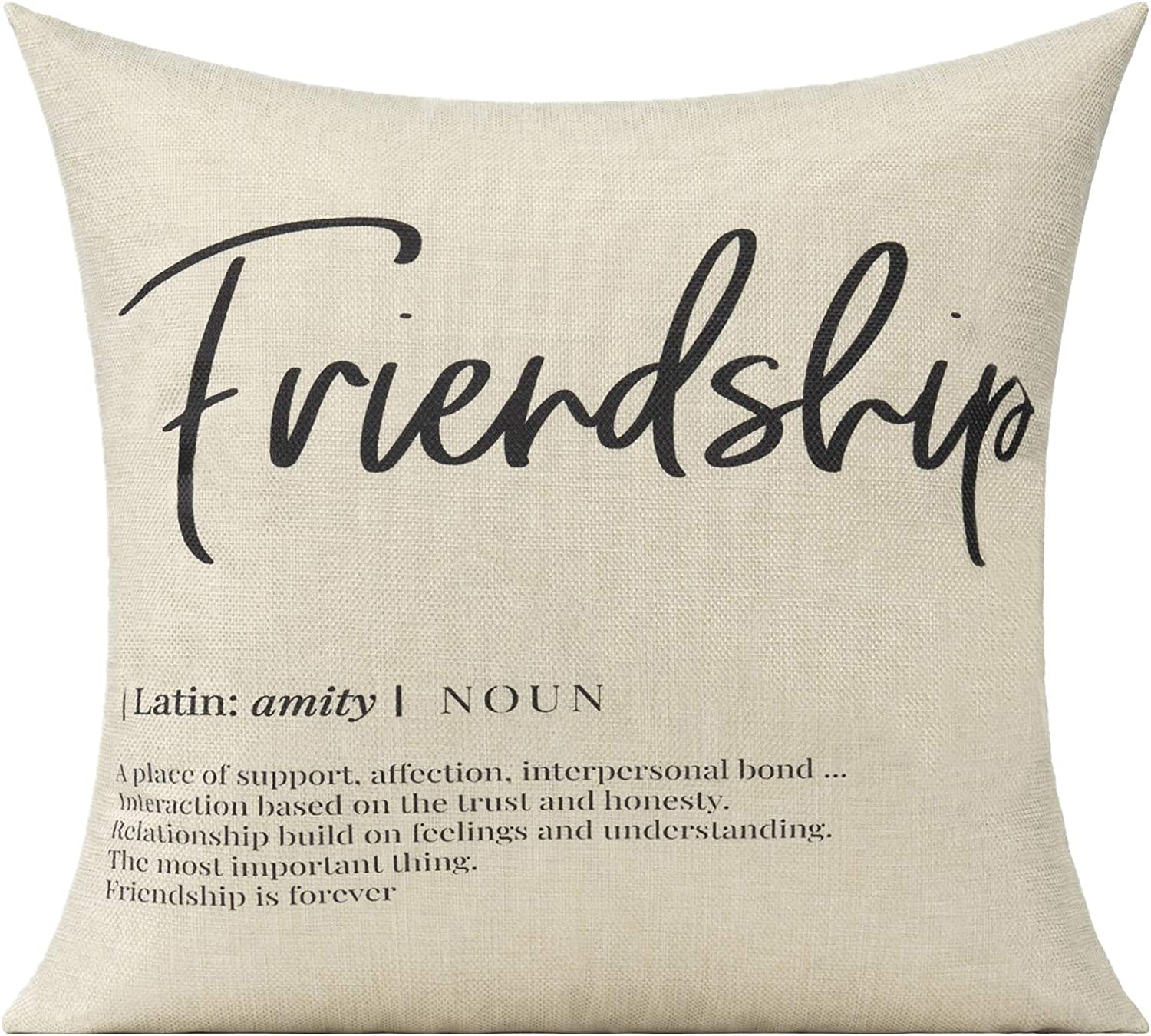 VAKADO Friendship Quotes Definition Throw Pillow Covers Love Trust Birthday Gift for Forever Friends Cushion Cases Square Home Decorative Pillowcases for Couch Sofa Car,18X18 Inches