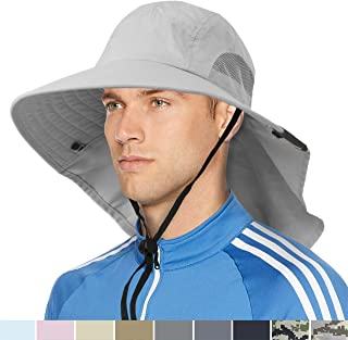 SUNCUBE Outdoor Wide Brim Sun Hat with Neck Cover Flap | Men, Women Summer Sun Protection Hat UPF 50+ for Hiking, Fishing, Gardening | Breathable, Foldable (Light Grey)