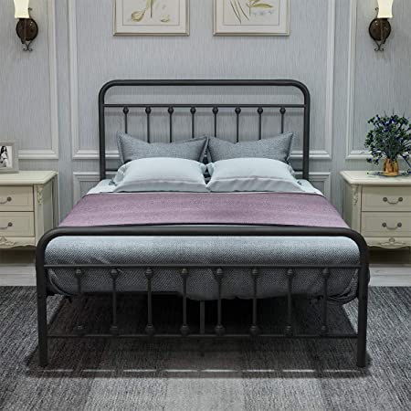 DUMEE Metal Bed Frame Full Size Platform with Vintage Headboard and Footboard Sturdy Premium Steel Slat Support,Textured Black