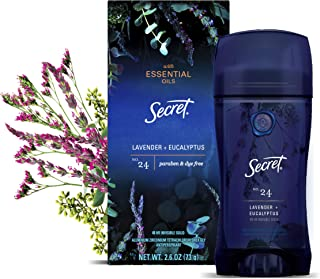 Secret Antiperspirant Deodorant for Women With Pure Essential Oils, Lavender & Eucalyptus Scent, 2.6 Oz