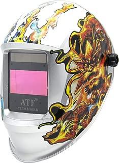 ATF Auto Darkening Welding Helmet,Solar Power Dragon Flame Welding Hood,Wide Viewing Area 3.94