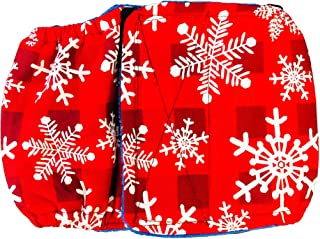 Barkertime Male Dog Diaper - Made in USA - Christmas Snowflakes on Buffalo Plaid Washable Dog Belly Band Male Wrap for Territorial Marking, Excitable Peeing and Urinary Incontinence