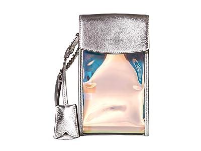 Kate Spade New York Iridescent Flap Phone Crossbody (Silver Multi) Bags