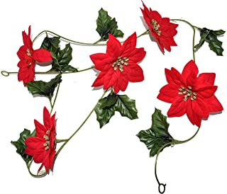 Christmas 20 Feet Artificial Poinsettia Flower Garland & Holly Leaves with Gold Glittered Accents & Velvet Petals - Indoor and Outdoor Party Decor- 4 Pack of 5ft Each
