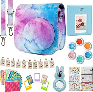 Flylther Compatible Mini 8 9 Camera 8-in-1 Accessories Bundles Set for Fujifilm Instax Mini 8 9 Instant Film Camera(Case,Albums,Frames,Film Stickers,Colored Filters,Selfie Lens)- Blue Pink Watercolour