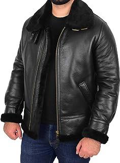 Mens Classic B3 Original Sheepskin Jacket Pilot Flying Aviator Style Black Shearling