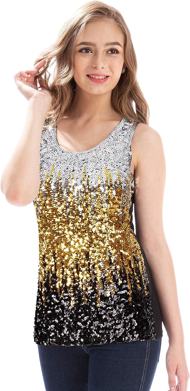MANER Women's Sequin Tops Sleeveless Glitter Gradient Tank Club Party Vest XS-3XL