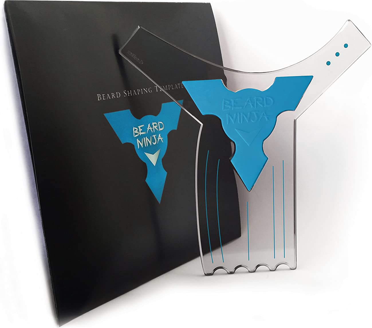 The BEARD NINJA - Beard Shaping Tool Template. Clear Shaper Guide for Lineup & Edging. Transparent Stencil Styling Goatee, Mustache & Neckline + Curve/Step or Straight Cut +Anti-Slip Grip (Blue)