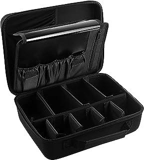 منظم حقيبة مكياج صلب للسفر - حقيبة تخزين مستحضرات التجميل لفرش الماكياج وأدوات الزينة والإكسسوارات الرقمية. حقيبة كبيرة لت...