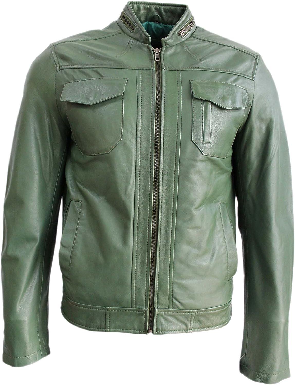 Gunner Men's Dark Green Short Bomber Biker Motorcycle Style Real Leather Jacket
