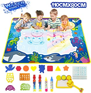"""Aqua magic mat, 43.3"""" X 31.4"""" Aeegulle Extra Large aqua doodle mat, with 4 Magic Water Pens and 17 Molds 1 Drawing Booklet, Educational Toy for 3, 4, 5, 6, 7, 8 Years Old Kids, Toddlers, Boys, Girls"""