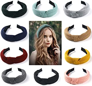 Keador Headband, 10 Pack Wide Plain Headbands Knot Turban Headband Fashion Elastic Hairband Hair Accessories for Women and Girls, 10 Colors