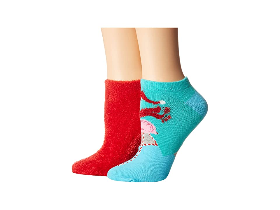 HUE Footsie Ankle Socks Gift Box Set 2-Pair Pack (Red Hot/Flamingo) Women