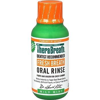 TheraBreath, Fresh Breath Oral Rinse, Mild Mint Flavor, フレッシュブレスウォッシュリンス、マイルドミント ミニボトル 3 fl oz (88.7 ml)