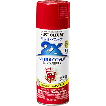Rust-Oleum 249124 Painter's Touch 2X Ultra Cover, 12 Oz, Gloss Apple Red