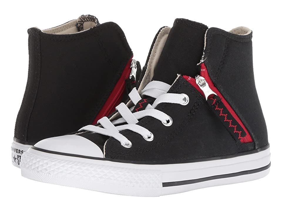 Converse Kids Chuck Taylor(r) All Star(r) Pull-Zip Hi (Little Kid/Big Kid) (Black/Enamel Red/White) Boys Shoes