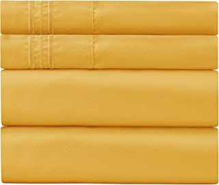 Sweet Sheets Bed Sheet Set - 1800 Double Brushed Microfiber Bedding - 4 Piece (Queen, Yellow)
