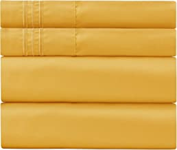 Sweet Sheets Bed Sheet Set - 1800 Double Brushed Microfiber Bedding - 4 Piece (Cal King, Yellow)
