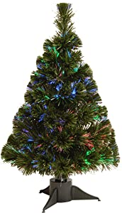 National Tree Company Pre-lit Artificial Christmas Tree   Includes Multi-Color Lights   Fiber Optic Ice Tree- 2 ft