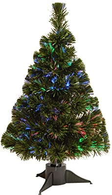 National Tree 24 Inch Fiber Optic Ice Tree in Green Stand with Multicolor Battery Operated LED Lights with Timer (SZI7-172-24B-1)