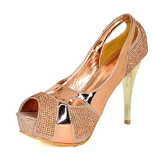 fa690e45adf9 WeHeartShoes Womens Metallic Look Stiletto Peep Toe Shoes