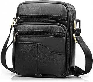 SPAHER Men Leather Handbag Shoulder Bag Satchel Business Messenger Backpack Crossbody Casual Tote Sling Travelling Bag for Wallet Purse Mobile Phone Keys Black