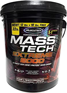 MuscleTech Mass Tech Extreme Triple Chocolate Brownie Peso Gainer, 22 libras, Verde, 22 lb(s)