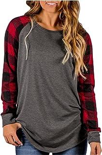 Womens Buffalo Plaid Shirts Round Neck Pattern Raglan...