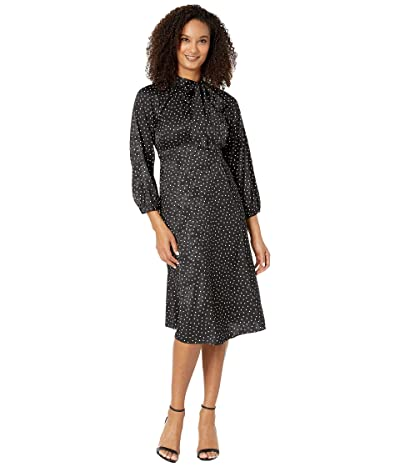 Calvin Klein 3/4 Sleeve Polka Dot A-Line Dress w/ Tie Neck (Black/Cream) Women