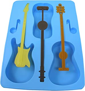 Fairly Odd Novelties Acoustic Electric Guitar Ice Cube Tray Mold w/Stirrers Blue Novelty Music Gift SH-1058