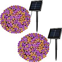 Lomotech 200LED Orange&Purple Halloween Lights, 72ft 8 Modes Orange&Purple Solar String Lights, Waterproof Solar Fairy Lig...